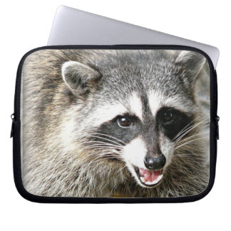 smiling racoon photo laptop case laptop sleeve