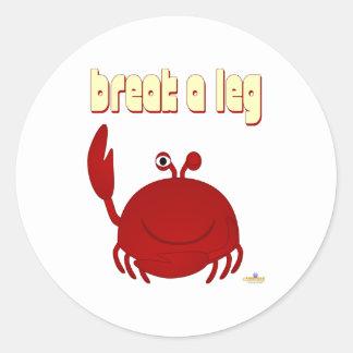 Smiling Red Crab Break A Leg Round Sticker