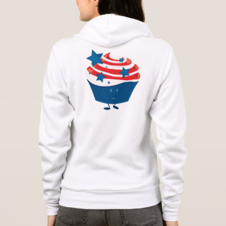 Smiling red white and blue cupcake hoodie