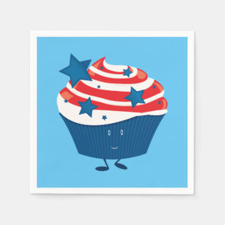 Smiling red white and blue cupcake paper napkin