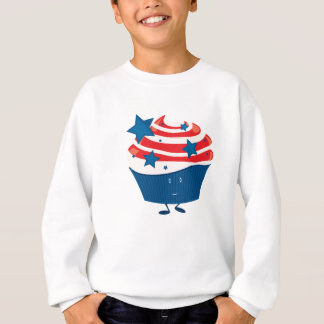 Smiling red white and blue cupcake sweatshirt