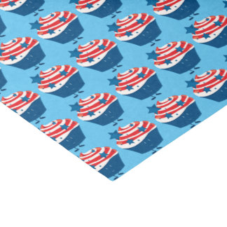 Smiling red white and blue cupcake tissue paper