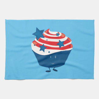 Smiling red white and blue cupcake towels