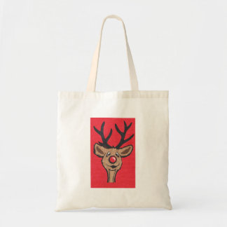 Smiling Reindeer with Red Background Tote Bag