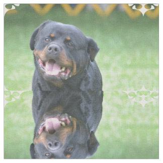 Smiling Rottweiler Fabric