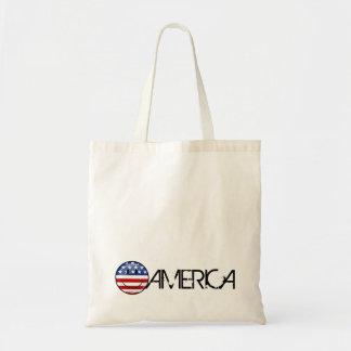 Smiling Round American Flag Tote Bag
