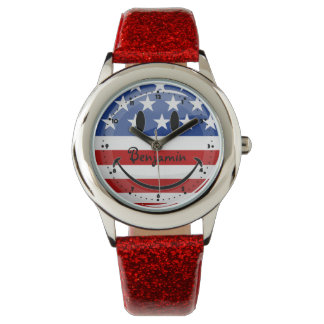 Smiling Round American Flag Wristwatch