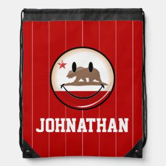 Smiling Round California Flag Drawstring Bag