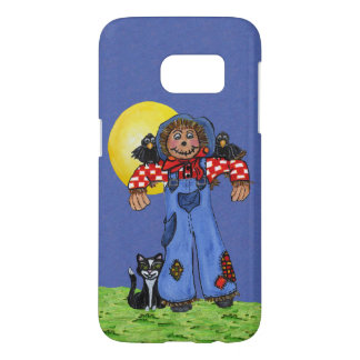Smiling Scarecrow Plaid Shirt Crows on Shoulders Samsung Galaxy S7 Case