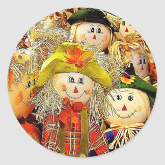 Smiling Scarecrows Classic Round Sticker