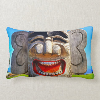 Smiling silly funny laughing teeth wood face photo lumbar pillow
