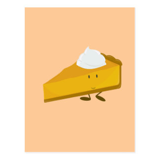 Smiling slice of pumpkin pie postcard