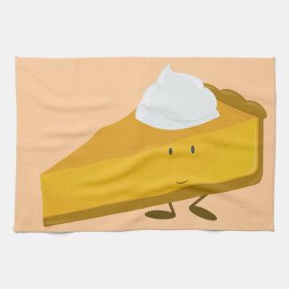 Smiling slice of pumpkin pie towels
