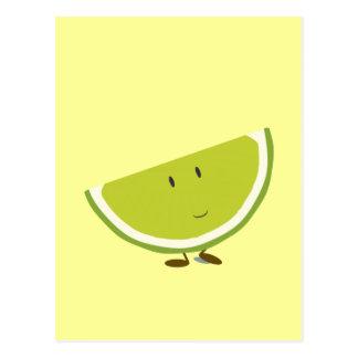 Smiling sliced lime character postcard