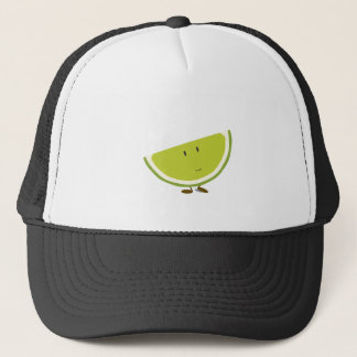 Smiling sliced lime character trucker hat
