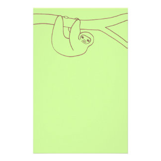 Smiling Sloth Hanging from Tree Personalized Stationery