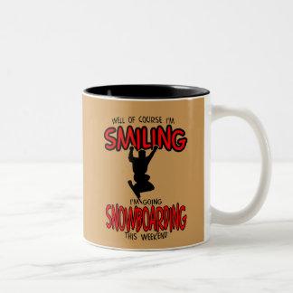 Smiling SNOWBOARDING weekend 2.PNG Two-Tone Coffee Mug