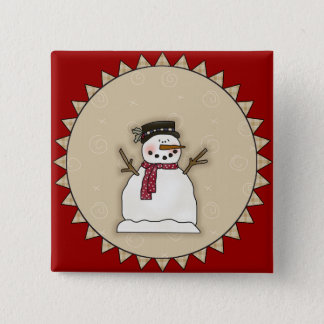 Smiling Snowman 2 Inch Square Button