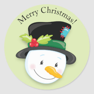 Smiling Snowman Black Top Hat Merry Christmas Classic Round Sticker