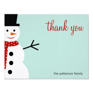 Smiling Snowman Christmas/Holiday Thank You Cards