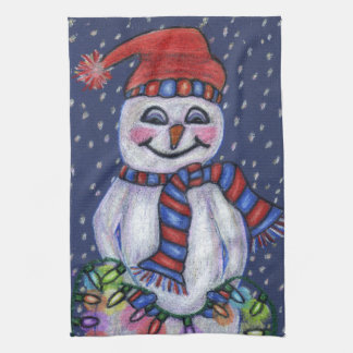 Smiling Snowman Hat Scarf Snow Christmas Lights Kitchen Towel