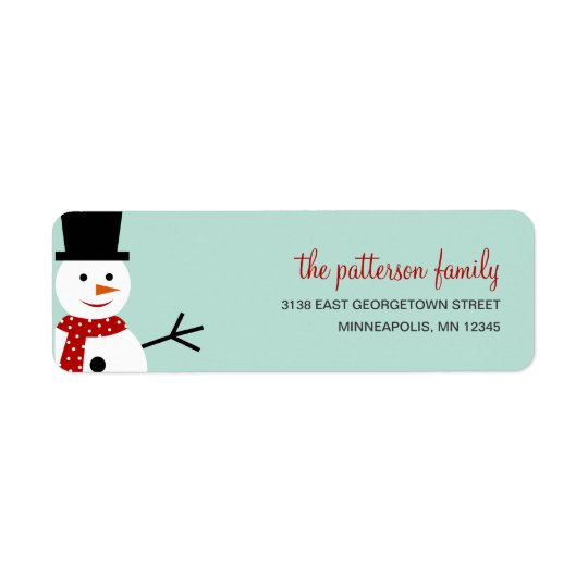 Smiling Snowman Holiday Address Label