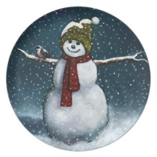 Smiling Snowman in Snow: Chickadee: Pastel Art Dinner Plates
