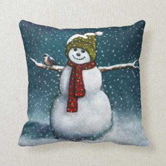 Smiling Snowman in Snow: Chickadee: Pastel Art Throw Pillow