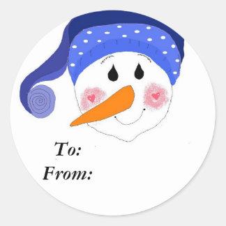 Smiling Snowman Round Sticker