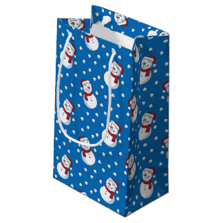 Smiling Snowmen In The Falling Snow Small Gift Bag
