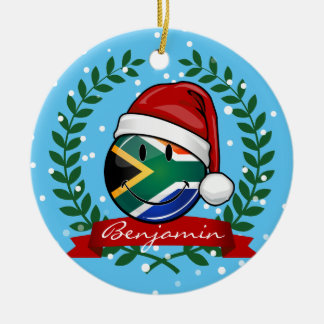 Smiling South African Flag Christmas Style Ceramic Ornament