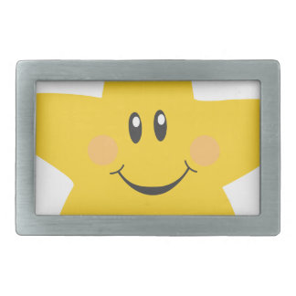 Smiling Star Rectangular Belt Buckle