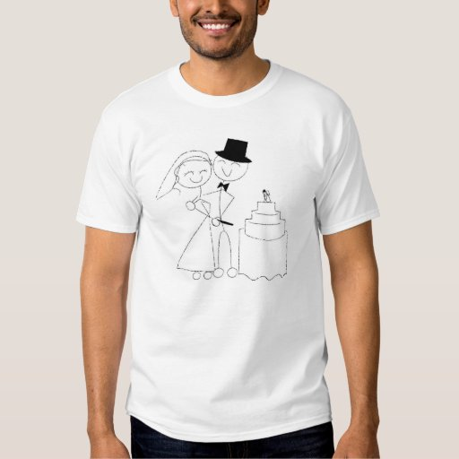 Smiling Stick Figure Couple Cuts the Wedding Cake T-shirt
