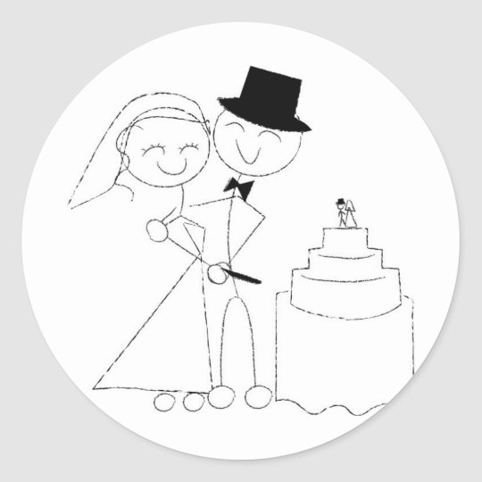 Smiling Stick Figure Couple Cuts Wedding Cake RSVP Round