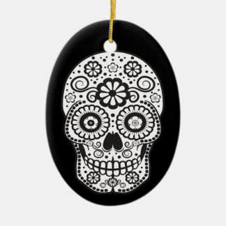 Smiling Sugar Skull Ceramic Oval Ornament