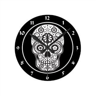 Smiling Sugar Skull Round Clock