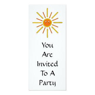 "Smiling Summer Sun. Yellow and Orange. 4"" X 9.25"" Invitation Card"