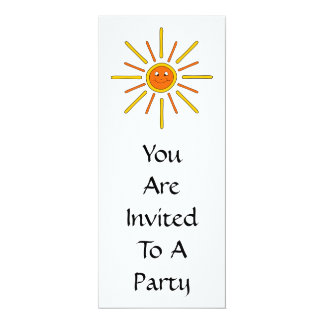 "Smiling Summer Sun. Yellow and Orange. 4"" X 9.25"" Invitation Card"