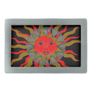 Smiling Sun Rectangular Belt Buckle