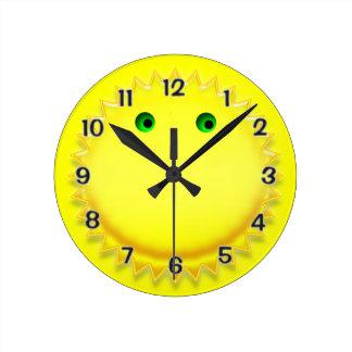 Smiling Sun Round Clock