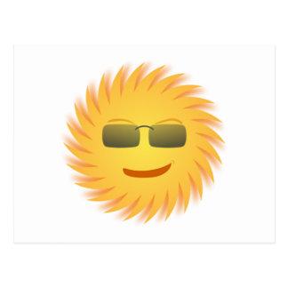 Smiling Sun Wearing Sunglasses Postcard