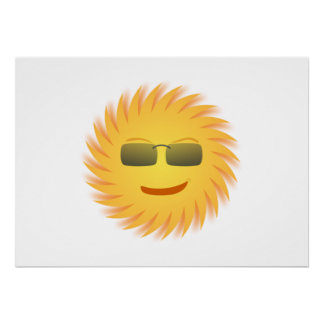 Smiling Sun Wearing Sunglasses Print