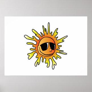 Smiling Sun Wearing Sunglasses Poster
