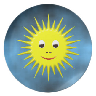 Smiling Sun with blue sky plate