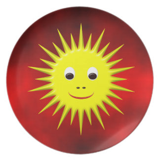 Smiling Sun with red sky plate