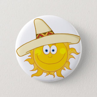 Smiling Sun With Sombrero Hat 2 Inch Round Button