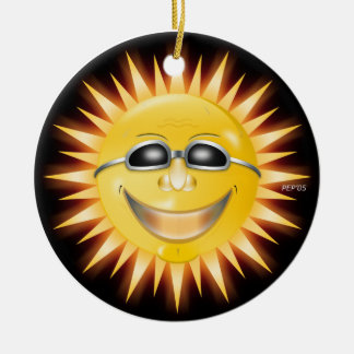Smiling Sunshine Round Ceramic Ornament