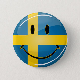 Smiling Swedish Flag 2 Inch Round Button