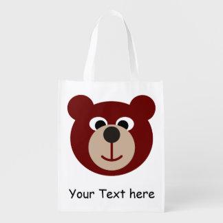 Smiling Teddy Baer + your Text Reusable Grocery Bag