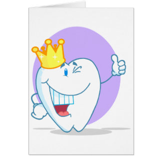 Smiling Tooth Cartoon Character With Golden Crown Card